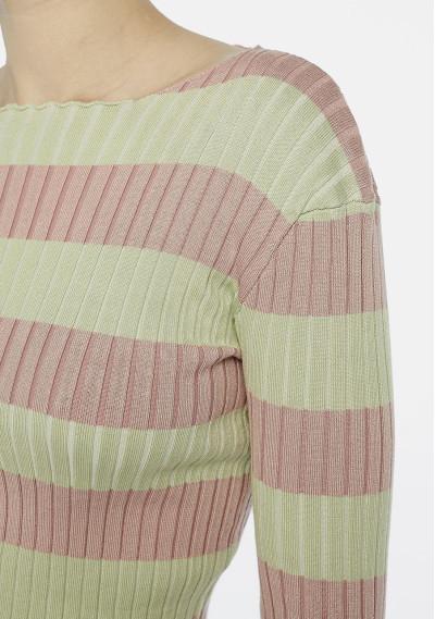 Green and pink striped rib knit jumper -  Compañía Fantástica