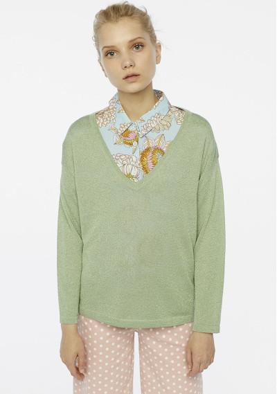 Green sparkle knit jumper