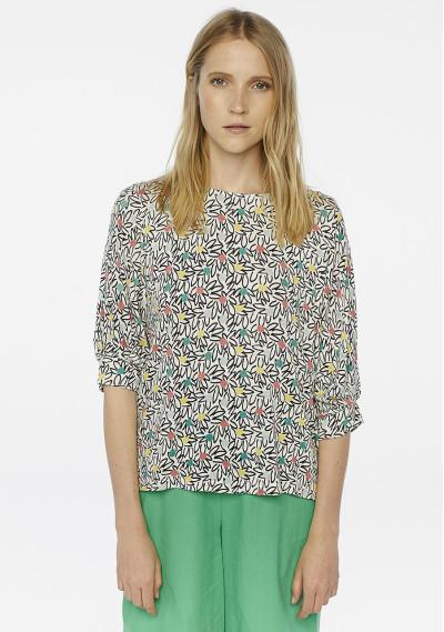Black floral fine-knit sweater
