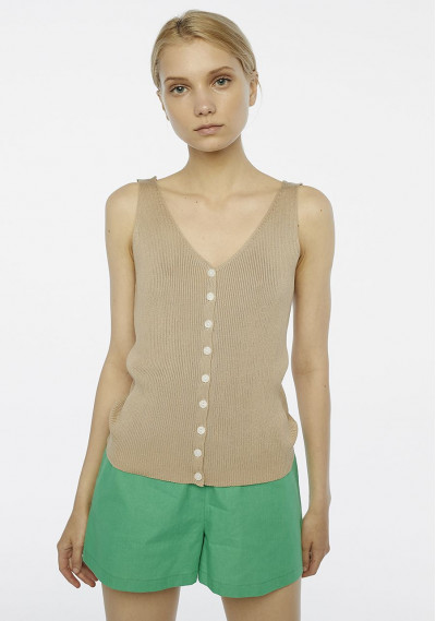 Buttoned beige ribbed top