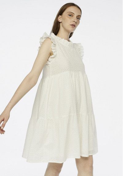 Embroidered white dress with ruffles -  Compañía Fantástica