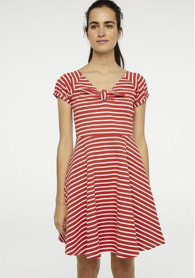 Vestido corto rojo rayas
