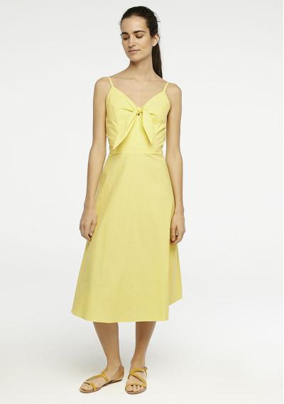Vestido midi amarillo lazo