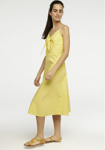 Yellow midi dress with bow -  Compañía Fantástica