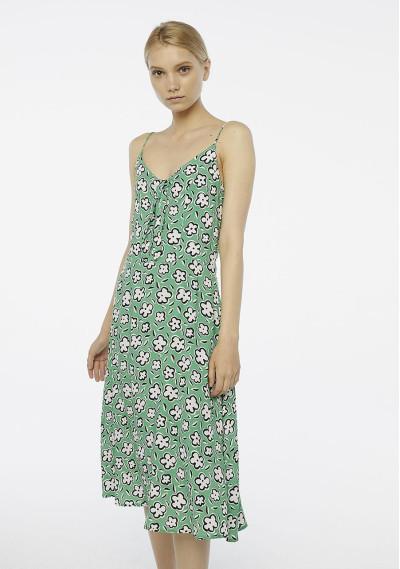 Vestido midi verde flores