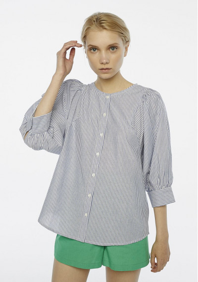 Blue striped sleeved blouse