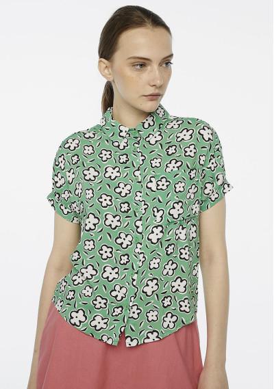 Green floral turn-up shirt