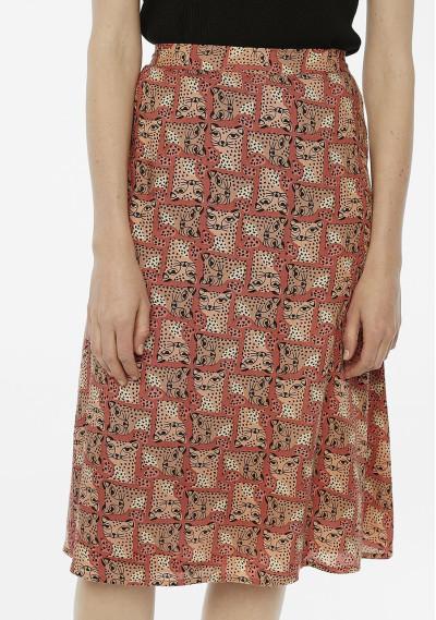 Falda midi estampado leopardos