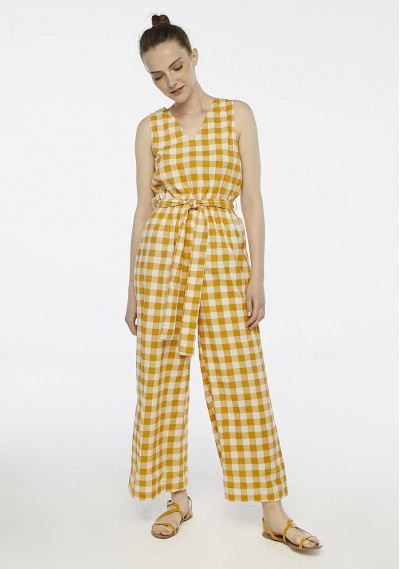 Yellow check jumpsuit