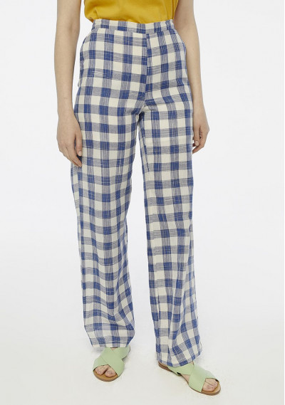Blue checked wide leg trousers