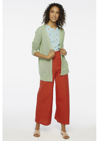 Red wide leg trousers with buttons -  Compañía Fantástica
