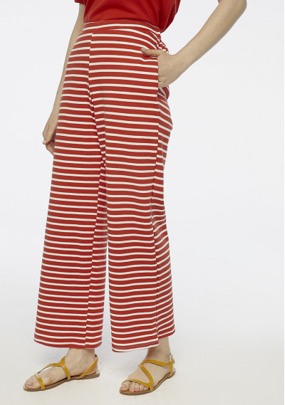 Red striped wide leg trousers