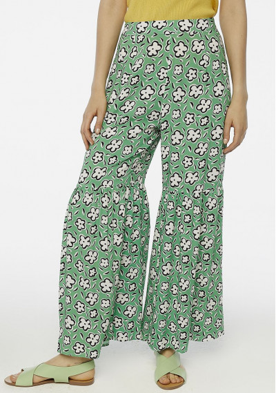Green floral flared trousers
