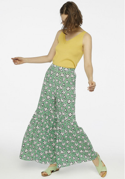 Green floral flared trousers -  Compañía Fantástica