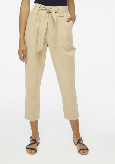 Pantaloni paperbag beige...