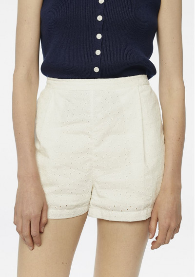 White embroidered shorts...