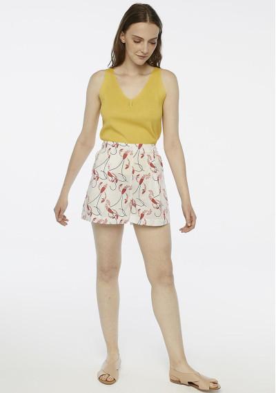 Shorts blancos estampado langostas -  Compañía Fantástica