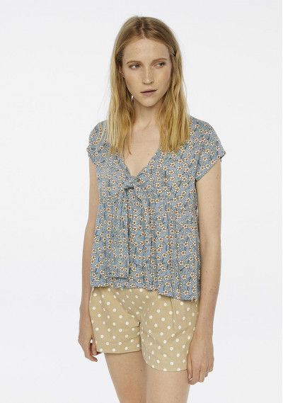 Blue floral top with bow