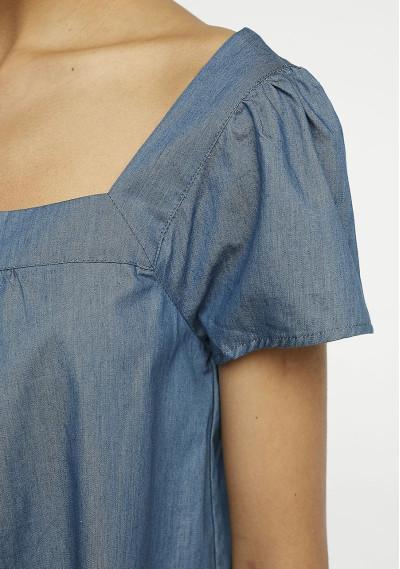 Top blu jeans a pieghe -  Compañía Fantástica