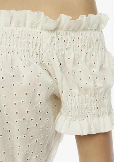 White embroidered off-the-shoulder top -  Compañía Fantástica