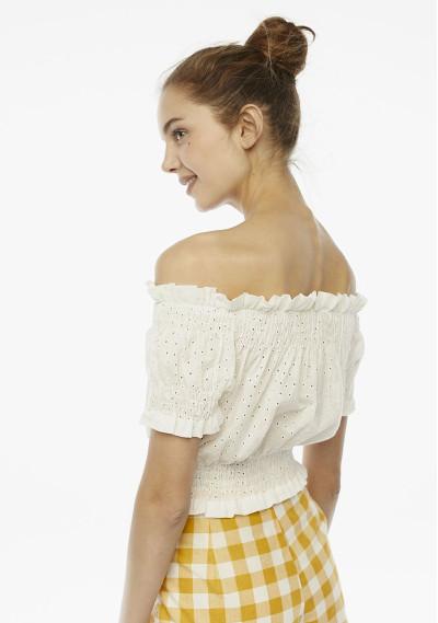 Top blanco bordado hombros -  Compañía Fantástica