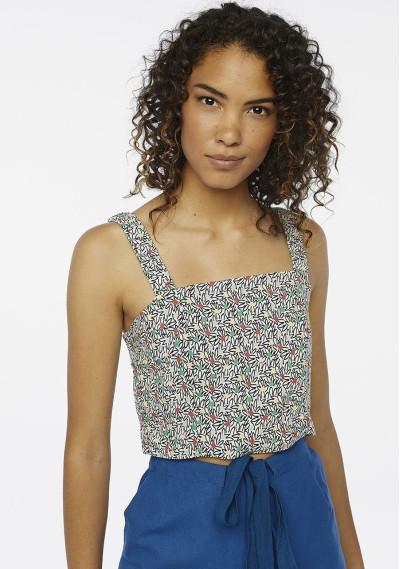 Black floral strappy top