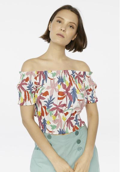 Top hombros flores multicolor
