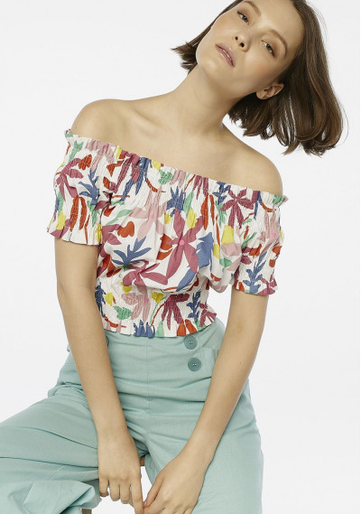 Top con spalle scoperte a fiori multicolore -  Compañía Fantástica