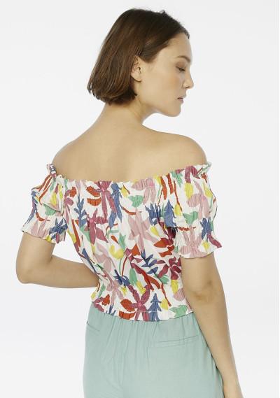 Top hombros flores multicolor -  Compañía Fantástica