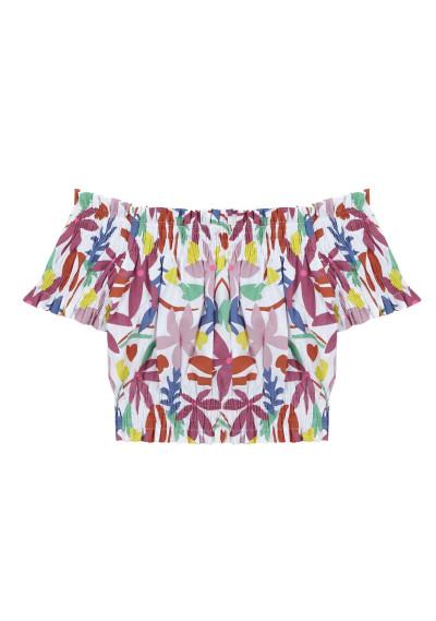 Multicoloured floral shoulder top -  Compañía Fantástica