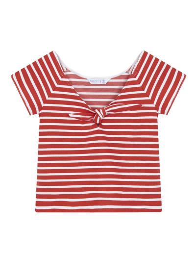 Red striped top with bow -  Compañía Fantástica