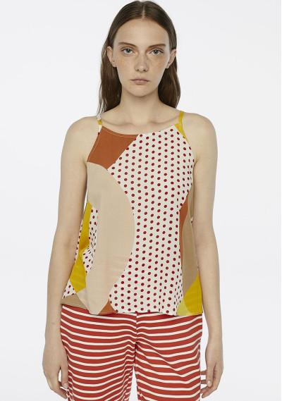 Geometric polka-dot strappy...
