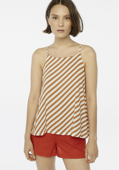 Brown striped strappy top