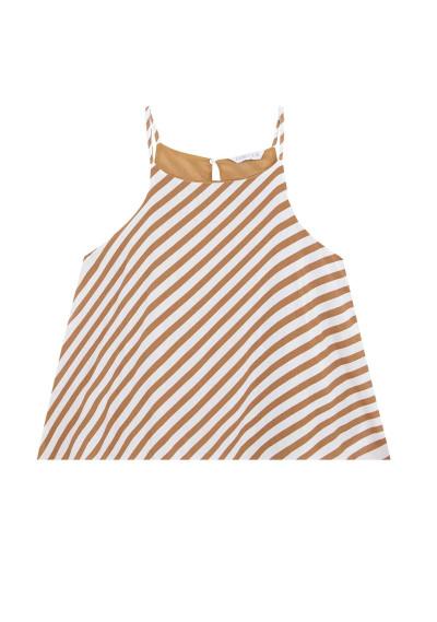 Brown striped strappy top -  Compañía Fantástica