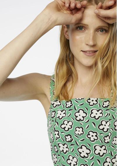 Green floral strappy top -  Compañía Fantástica