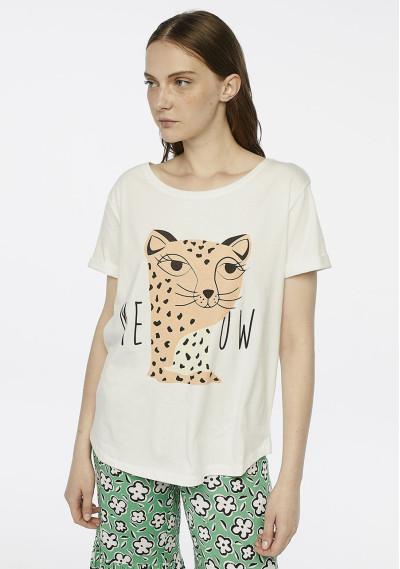White leopard 'Meow' t-shirt