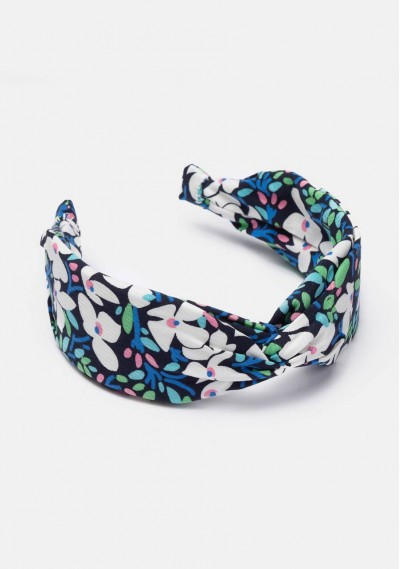 Blue floral print knotted...