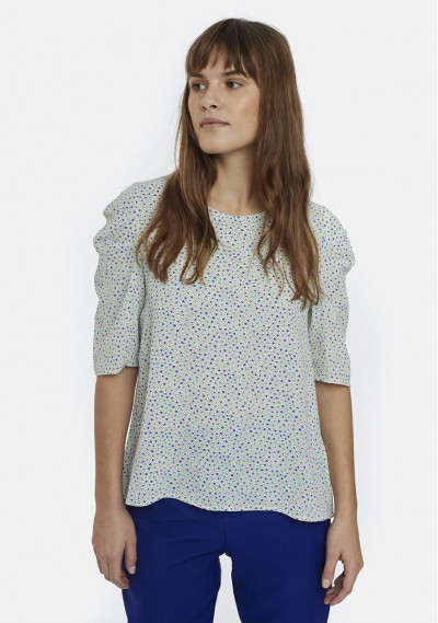Sleeved top with polka dots