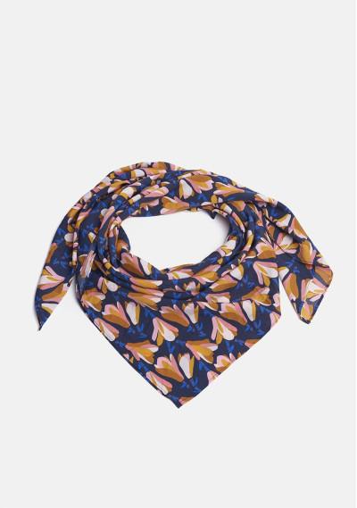 Magnolias print navy scarf