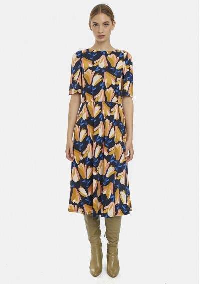 Magnolias print midi dress