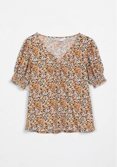 Navy top with confetti print