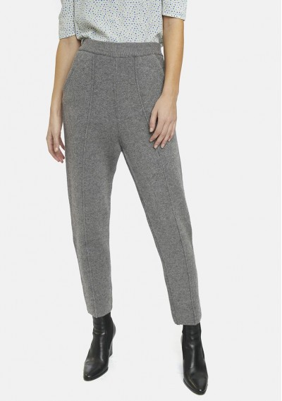 Grey knit trousers with seams