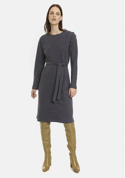Grey shift dress with bow belt