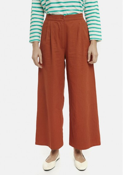 Orange flared trousers with...