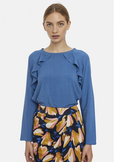 Plain blue top with...