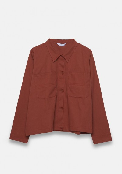 Brown overshirt jacket with...