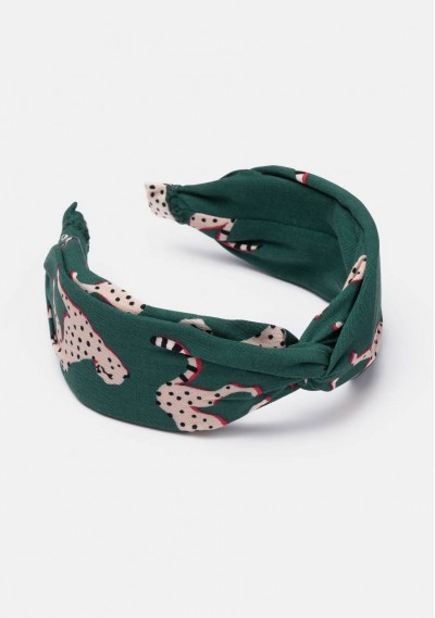 Green jaguars print knotted...