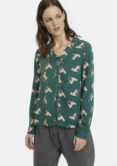 Green jaguars print shirt