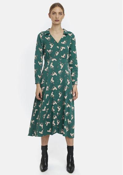 Green jaguars print midi dress