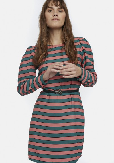 Pink and green striped full...